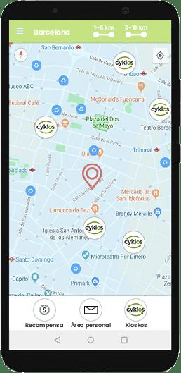 Imagen de móvil con la app Cyklos